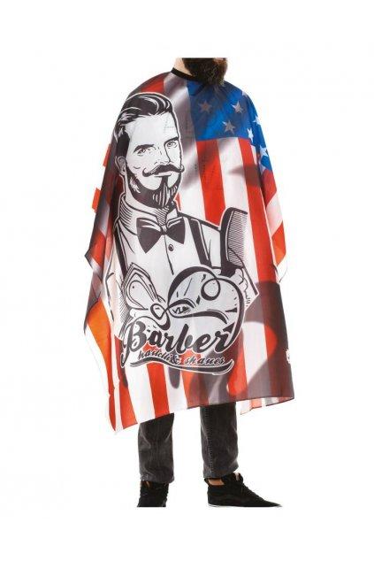 Kadeřnický plášť Barber STARS STRIP na stříhání, podklad vlajka s holičem, vodoodpudivý polyester