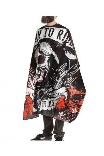 Kadeřnický plášť Barber RIDER na stříhání, černo červený podklad, bílá lebka, vodoodpudivý polyester