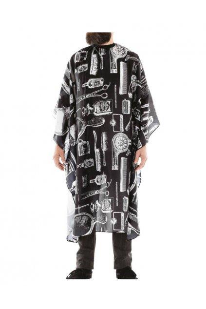 Kadeřnický plášť Barber NEW YORK na stříhání, černý podklad, bílé pomůcky, vodoodpudivý polyester