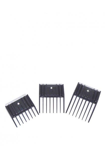 Náhradní nástavce ke strojku na vlasy SET 3ks plastové hřebeny 5, 9, 13mm