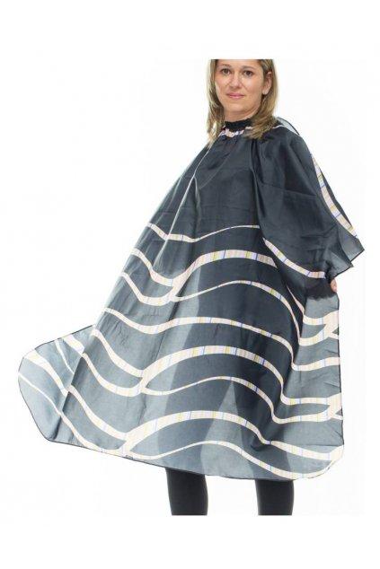 Kadeřnický plášť NERA ONDE na stříhání bílé vlny na černém pozadí 125x168cm