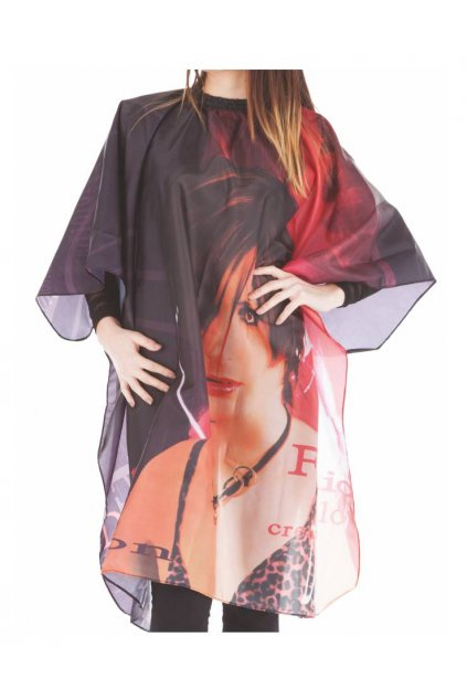 Kadeřnický plášť FASHION na stříhání vzor žena, červeno černé pozadí 115x140cm