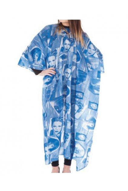 Kadeřnický plášť BLU na stříhání vzor nepravidelné modré obrazce, hlavy 125x168cm