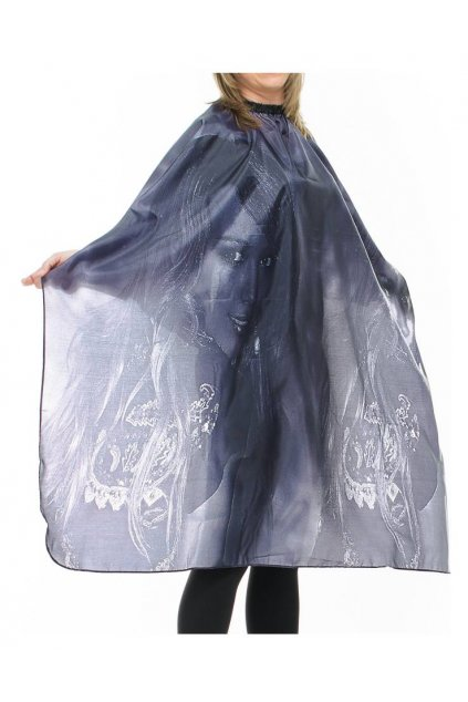 Kadeřnický plášť WOMAN GRAY na stříhání šedý s ženou 125x150cm