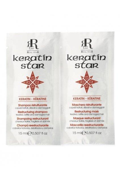 RR Line KERATIN STAR Šampon a maska obnovující namáhané a zničené vlasy 2x15ml