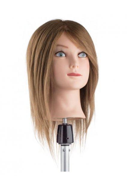 Cvičná hlava 100% lidské vlasy, barva č.6, délka vlasů 25/30cm