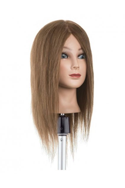 Cvičná hlava 100% lidské vlasy, barva č.6, délka vlasů 30/35cm