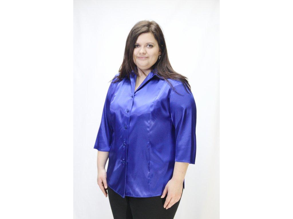 Halenka košilová modrá saténová