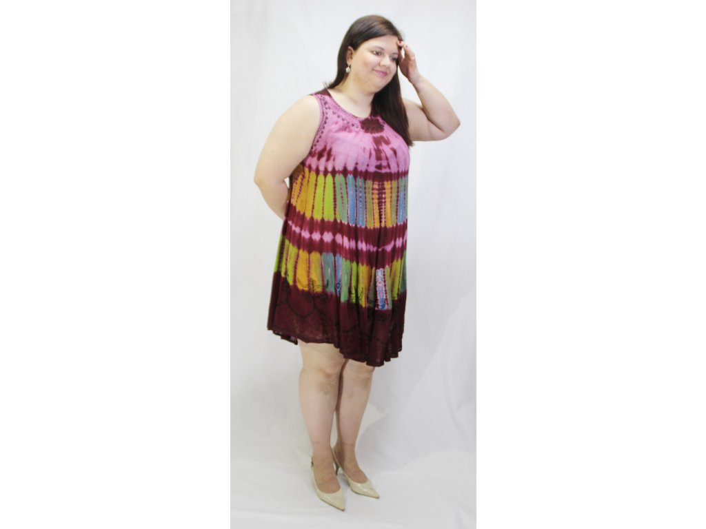 Šaty indie barevné bordó