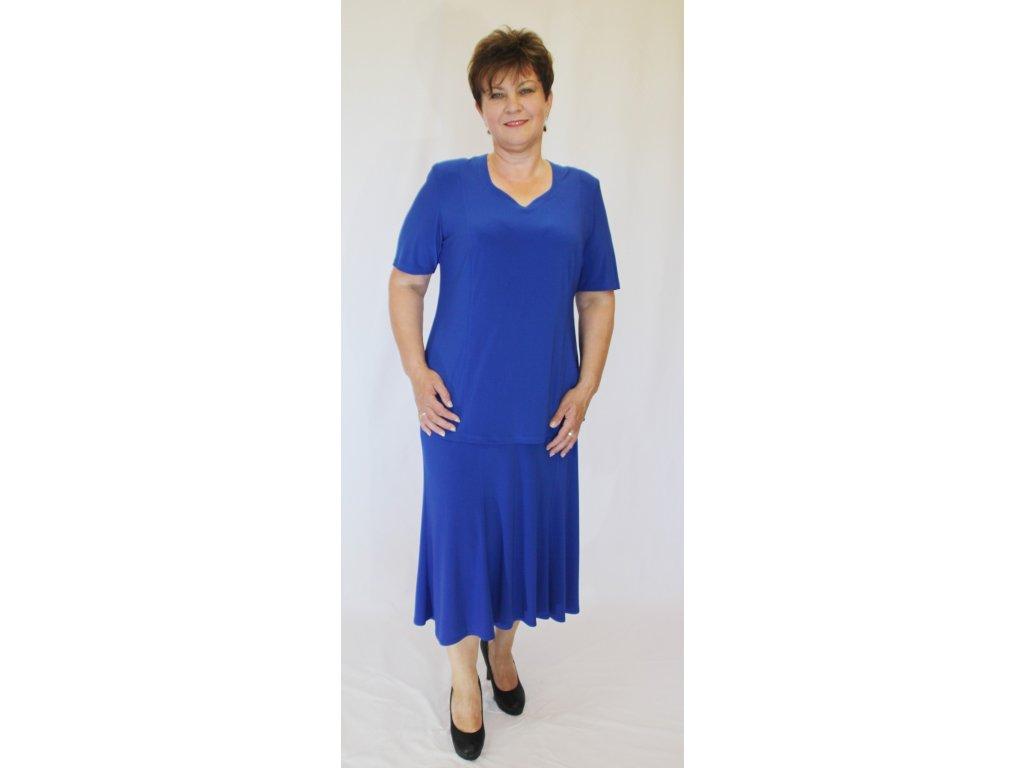 Dámský sukňový kostým modrý úpletový