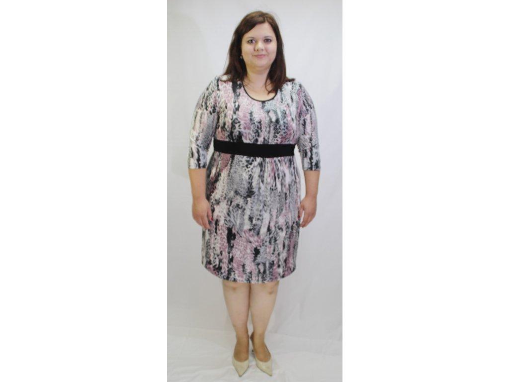 Šaty fialové s černým pruhem