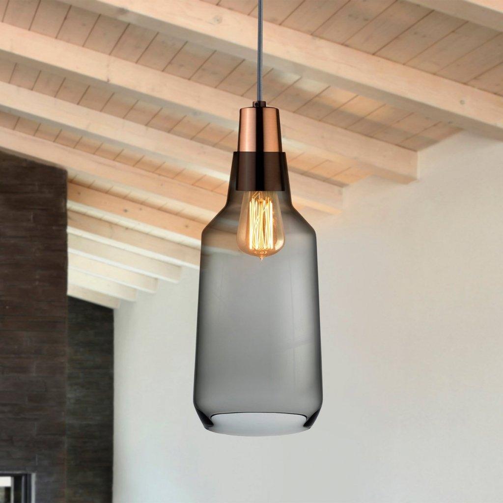 Mono Lamp Smoke with Copper Socket Tall 2