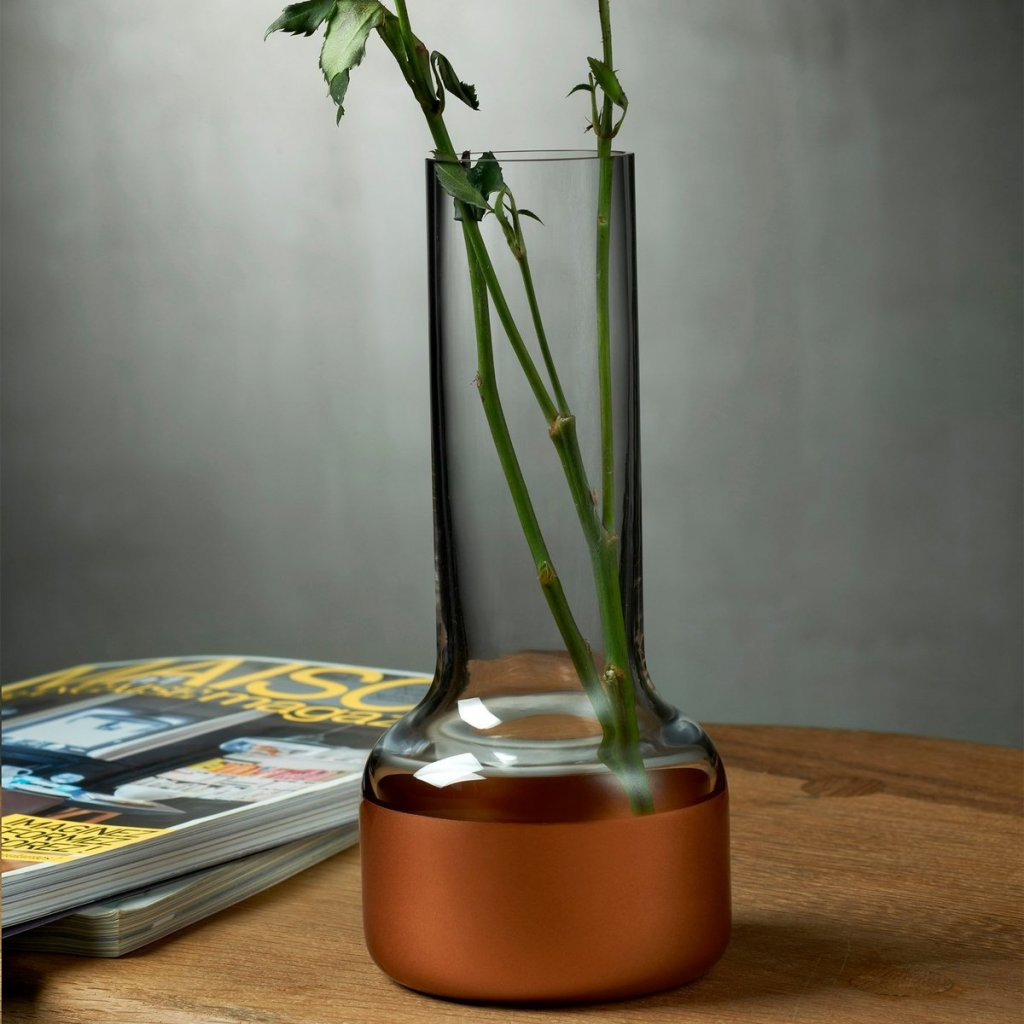 Contour Bud vase with Clear Top and Copper Base 2