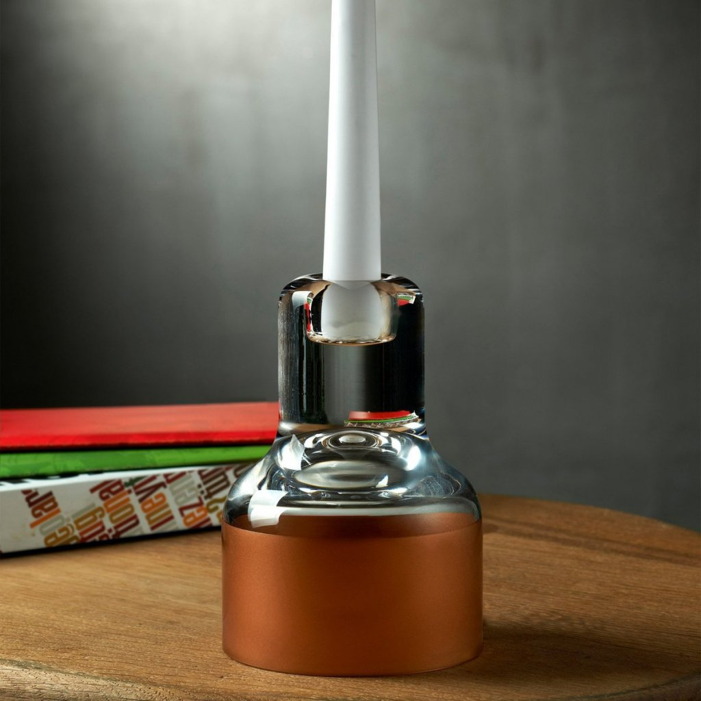 Contour Candle Holder with Clear Top and Copper Base 2
