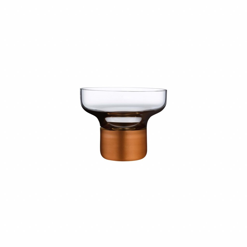 Contour Bowl High Foot with Clear Top and Copper Base
