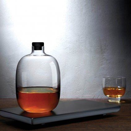Malt Whiskey Bottle with Wooden Tray + glass