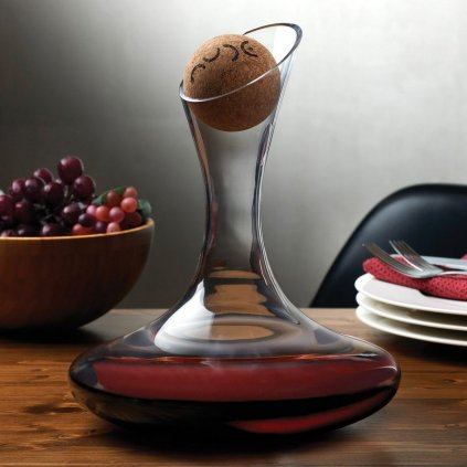 oxygen wine decanter 1.75 l with cork stopper nude glass 2