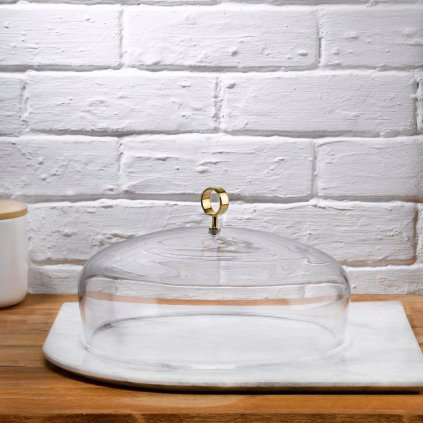 Cupola Cake Dome Medium with Brass Handle and Marble Base 2