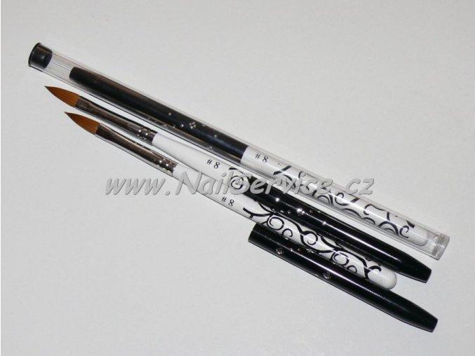 Štětec LUX-černý na akryl,gel. přírodní,oval č.8