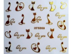 Samolepka 3D na nehty Kočky zlaté