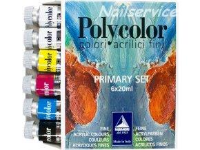 AKRYLOVÉ BARVY POLYCOLOR SET PRIMARY 6 x 20 ml. + kalíšky na míchaní barev.