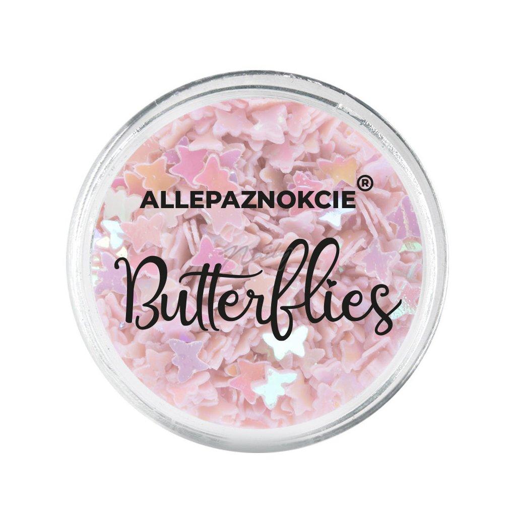 Mini motýliky na zdobenie nechtov ružov