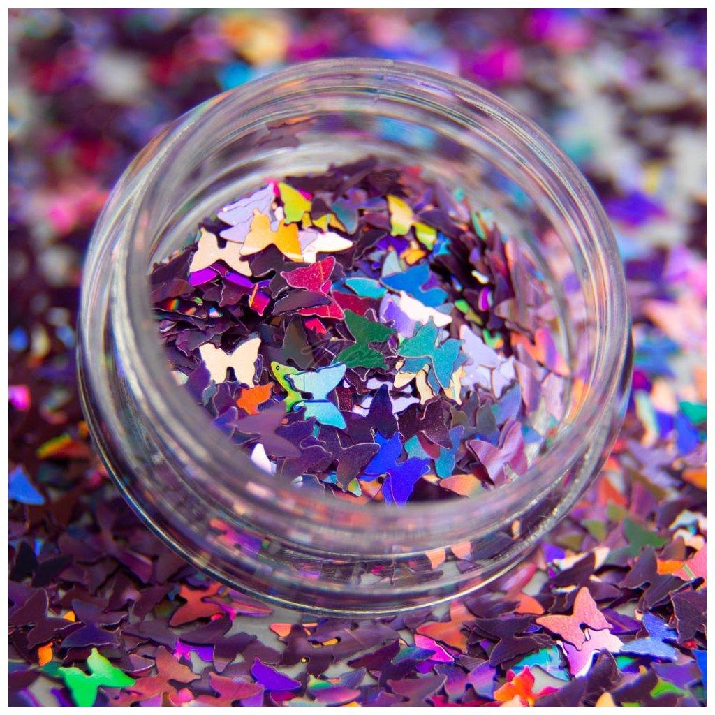 Holografické motýliky na zdobenie nechtov fialové