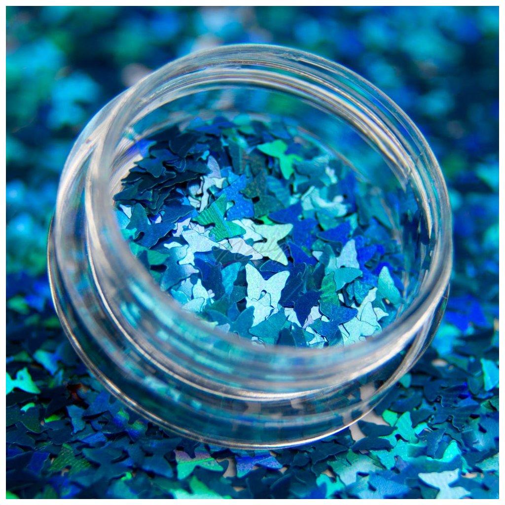 Holografické motýliky na zdobenie nechtov modré