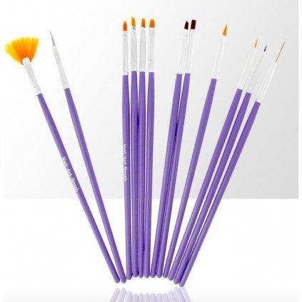 staw pędzelków do żelu, akrylu i zdobień 12 elementów fioletowy