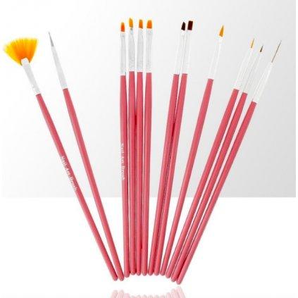 Zestaw pędzelków do żelu, akrylu i zdobień 12 elementów różowy