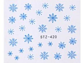 Vodolepky na nechty s motívom modrých snehových vločiek.