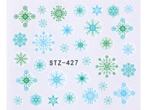 Vodolepky na zdobenie nechtov modré a zelené snehové vločky