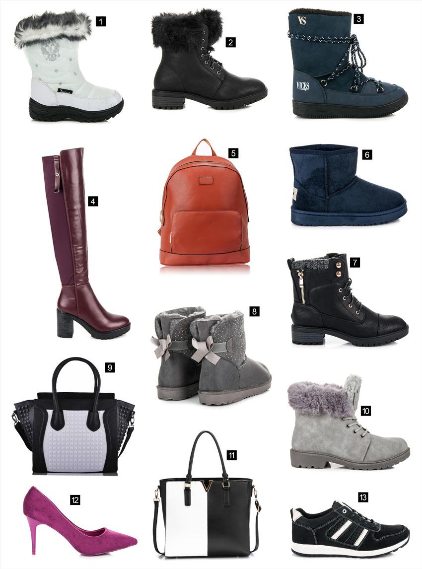Snehule, workery, čižmy, kabelky, ruksak
