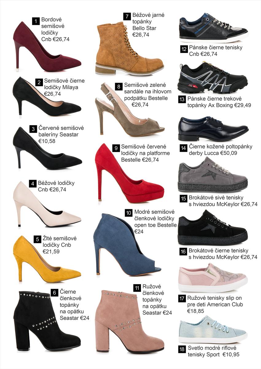 Lodičky, členkové topánky, tenisky, poltopánky