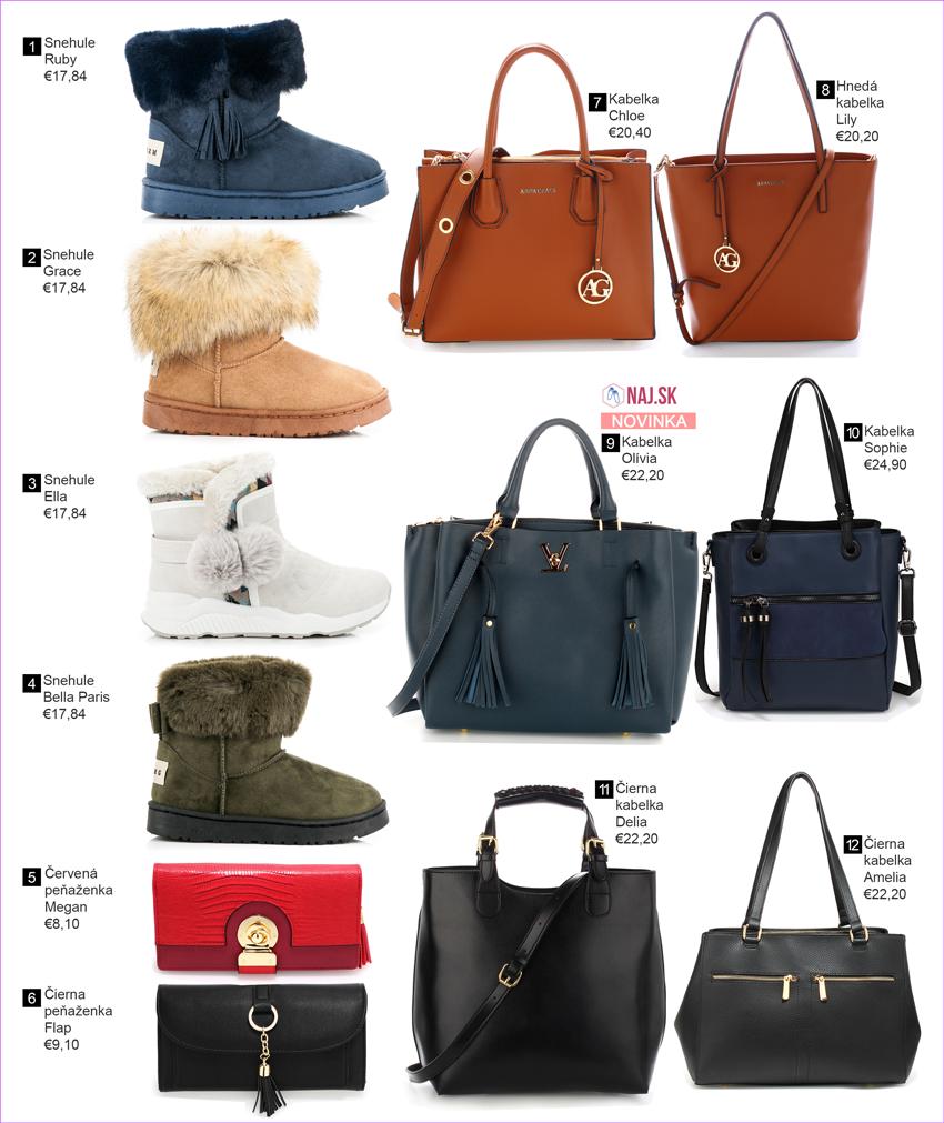 Snehule, kabelky, peňaženky