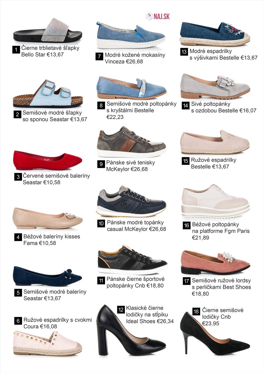Tenisky, papuče, lodičky