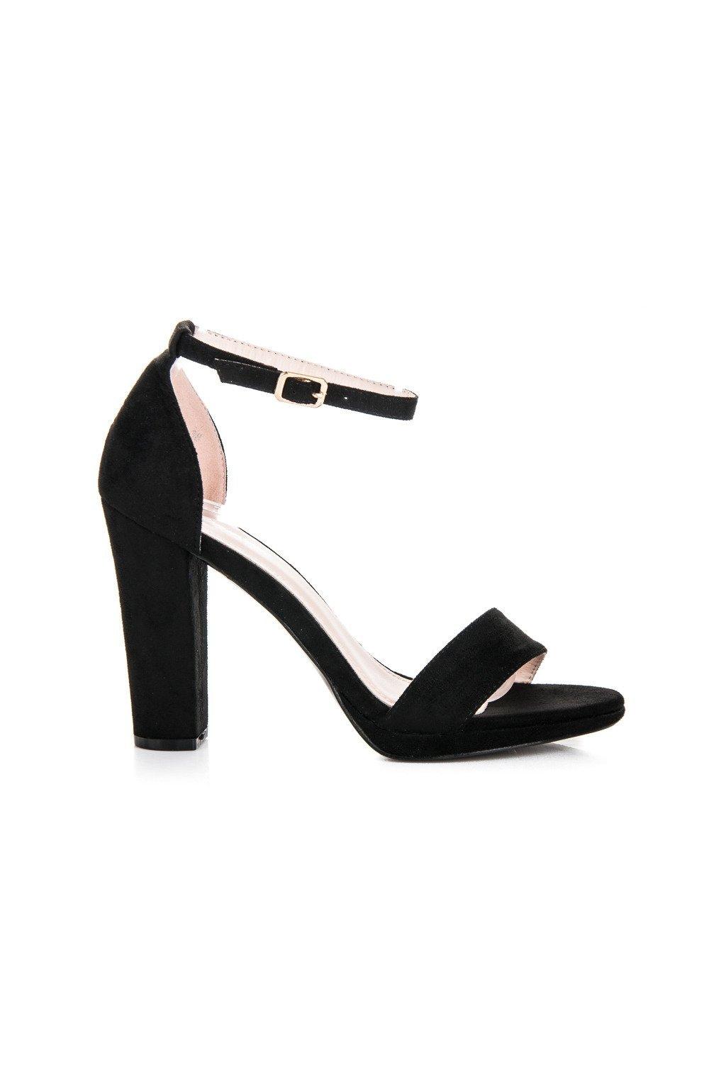 Sandále na vysokom podpätku čierne A05B b15533cb722