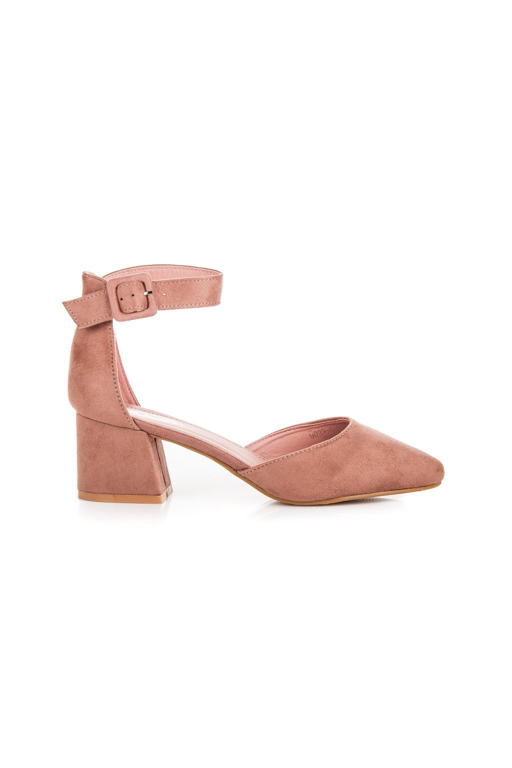 Ružové semišové sandále na nízkom podpätku 9039-9P