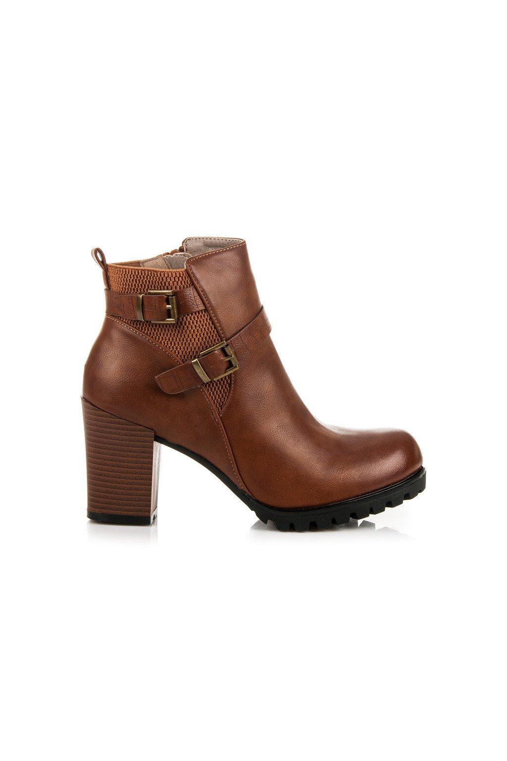 Elegantné topánky na stĺpovom podpätku hnedé A501C  c5a36752c40
