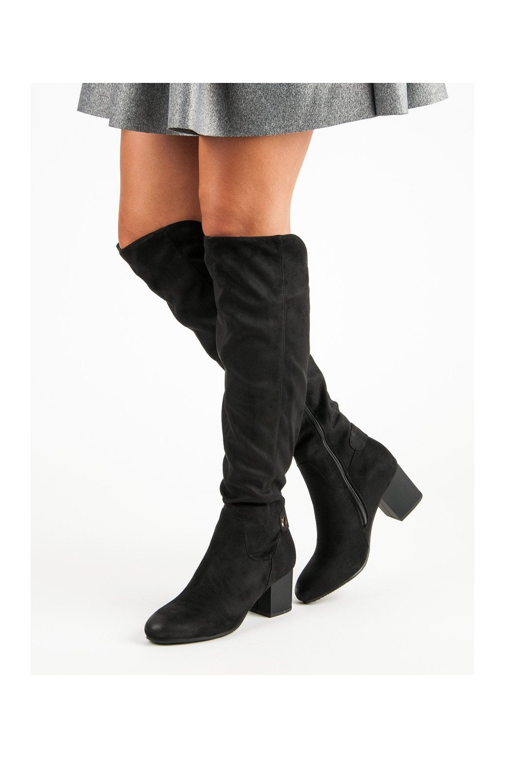 Vysoké čierne čižmy nad koleno s hrubým opätkom VINCEZA  f2fb374d325