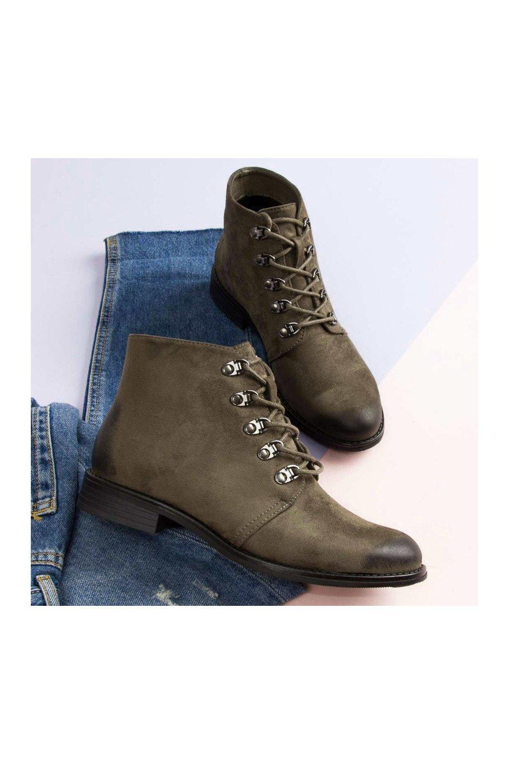 Zelené členkové topánky so šnurovaním VINCEZA  401c2cac829