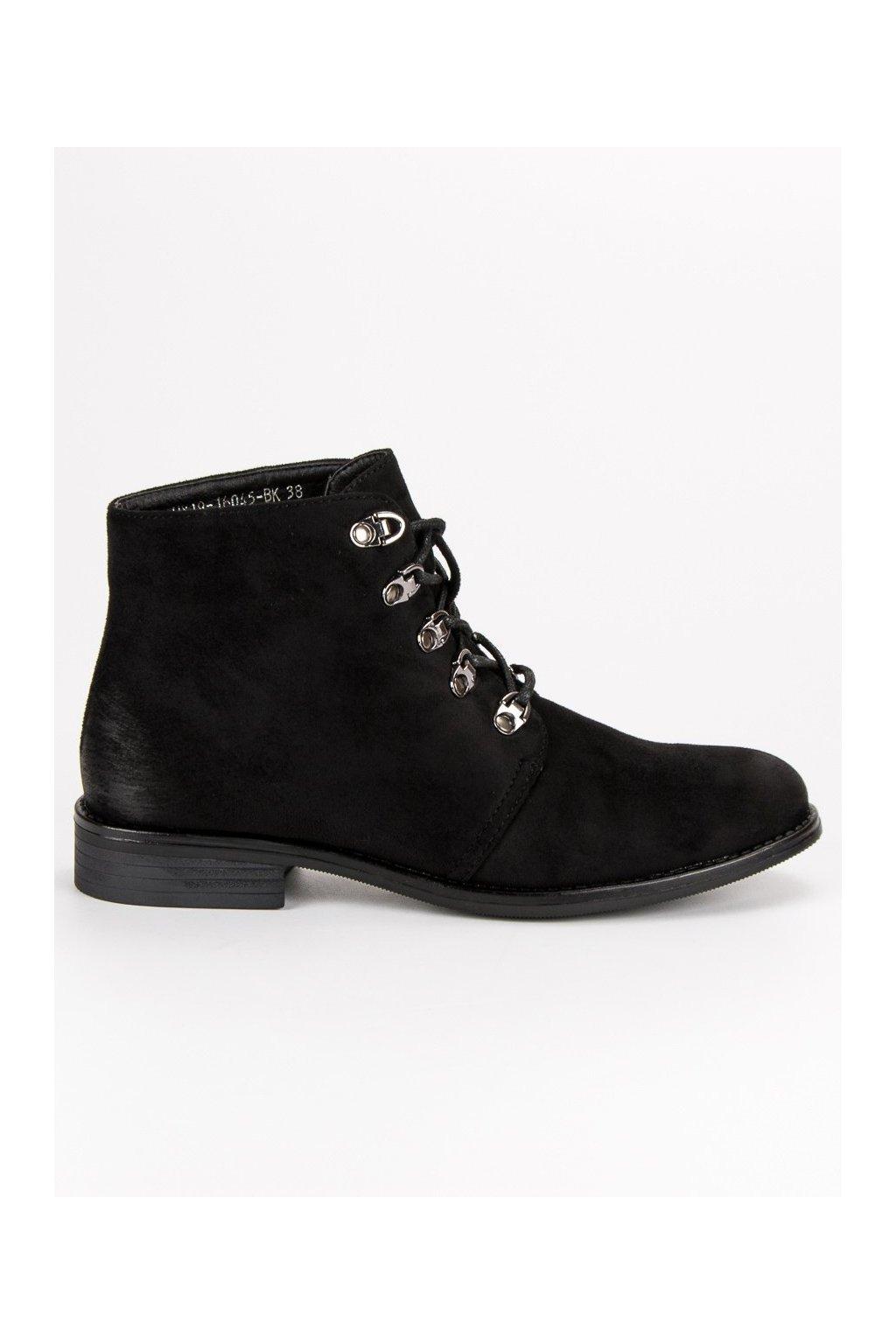 bf1e9e04f Čierne dámske topánky na plochom opätku Vinceza HX19-16045B | NAJ.SK