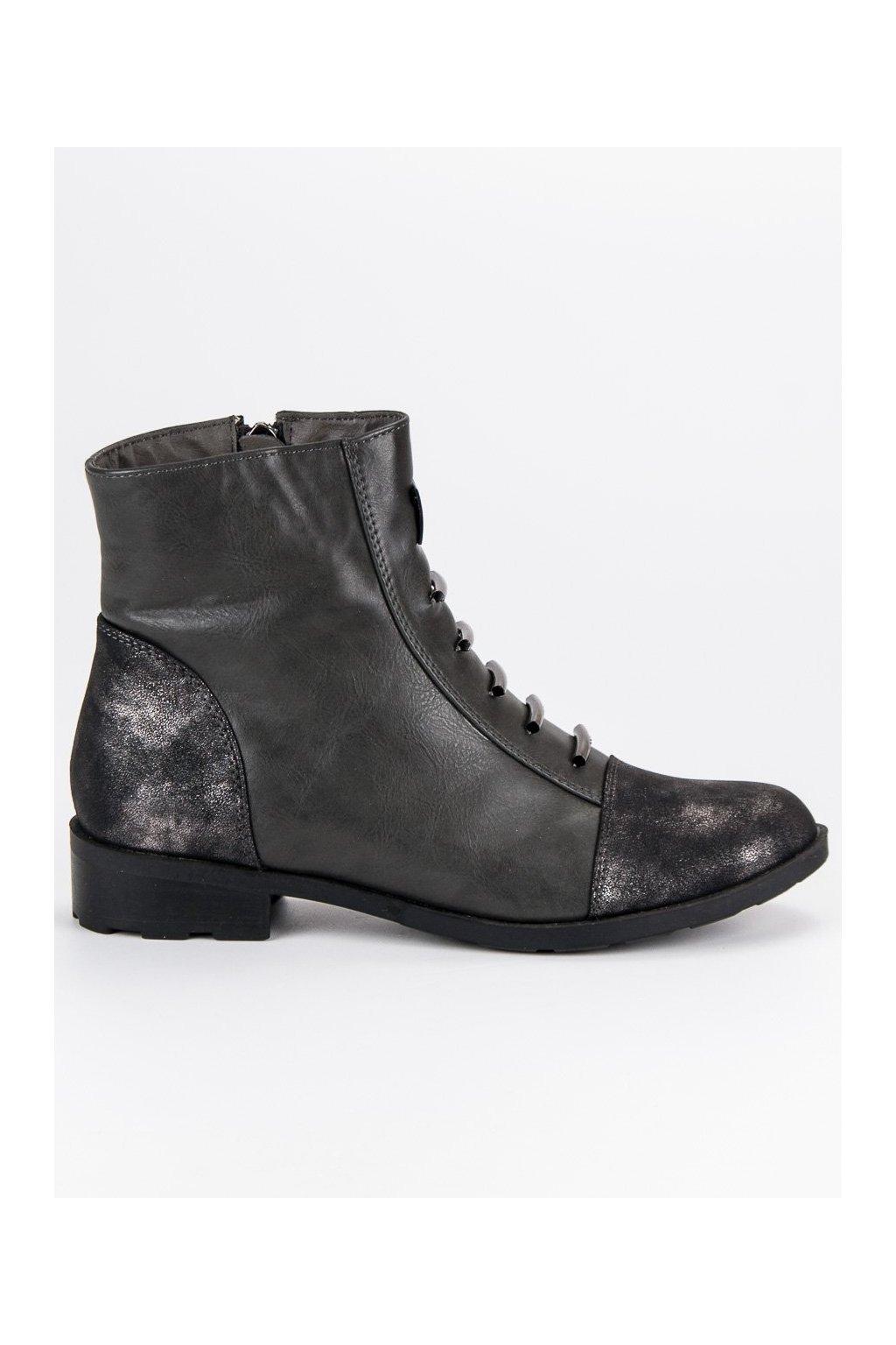 Sivé dámske topánky na plochom opätku Filippo DBT301/18G