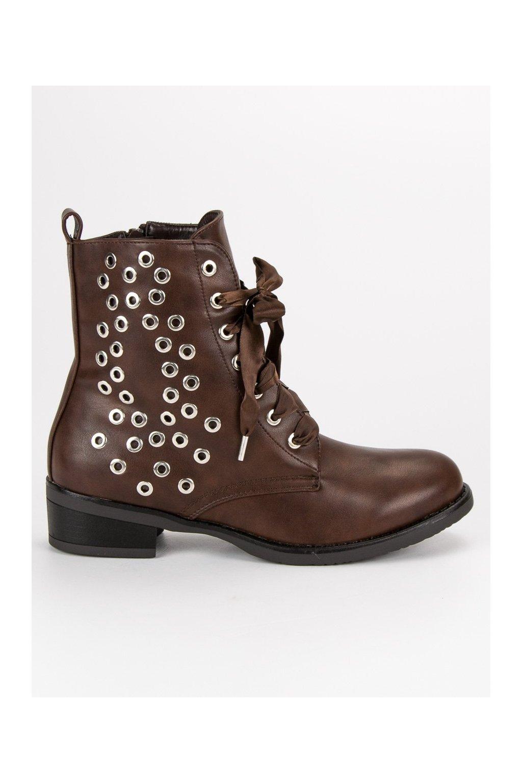 Hnedé dámske topánky na plochom opätku Shelovet FC-H53DK.BR