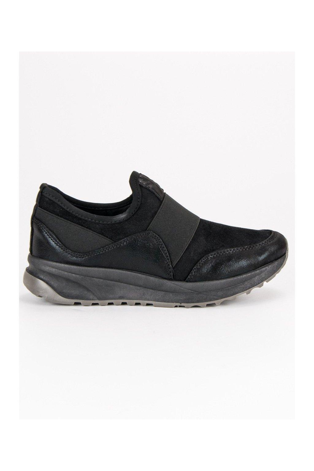 Dámske čierne topánky na šnurovanie  78c64532648