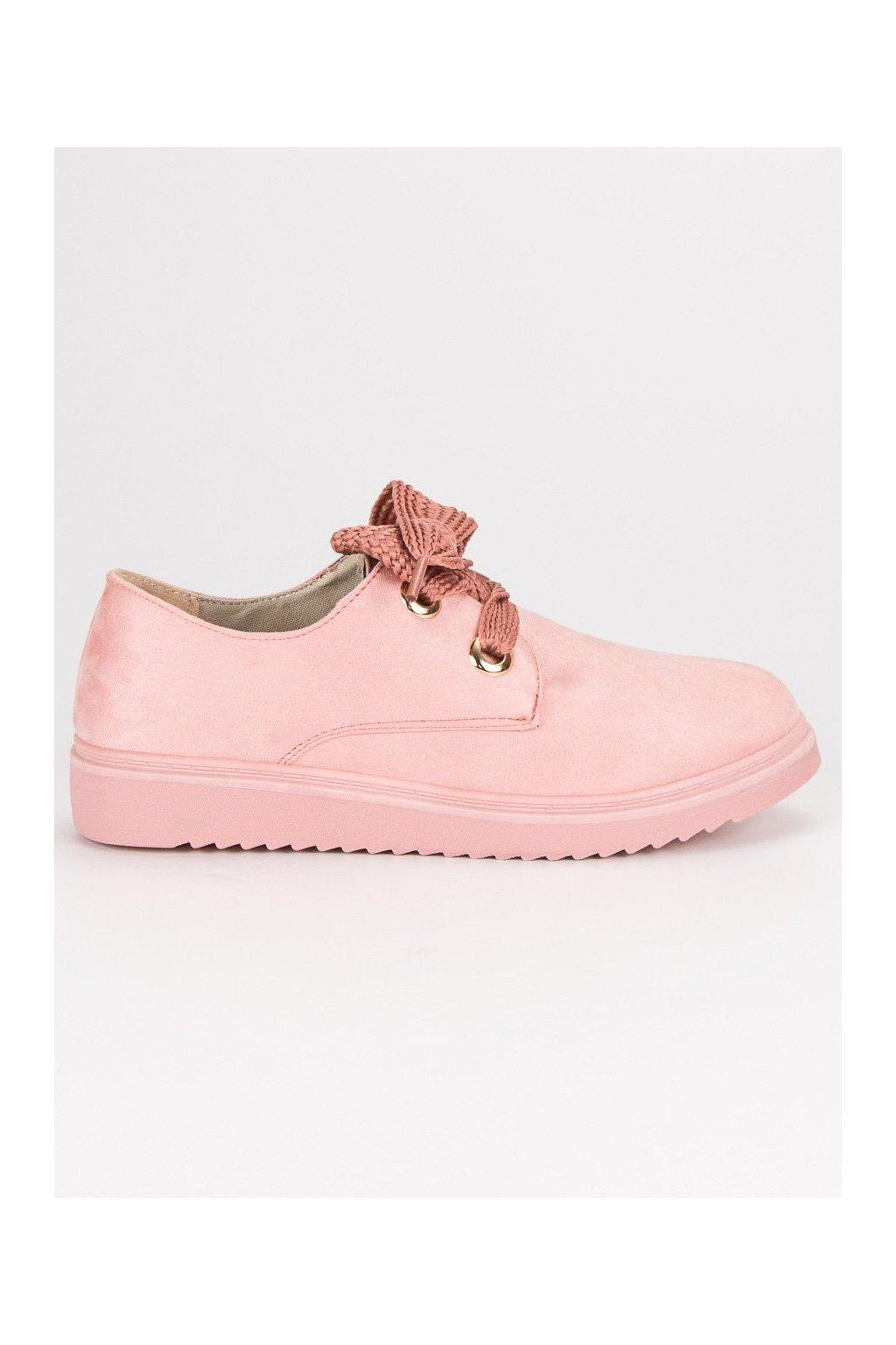 Semišové dámske tenisky ružové na šnúrovanie CnB  a567348977