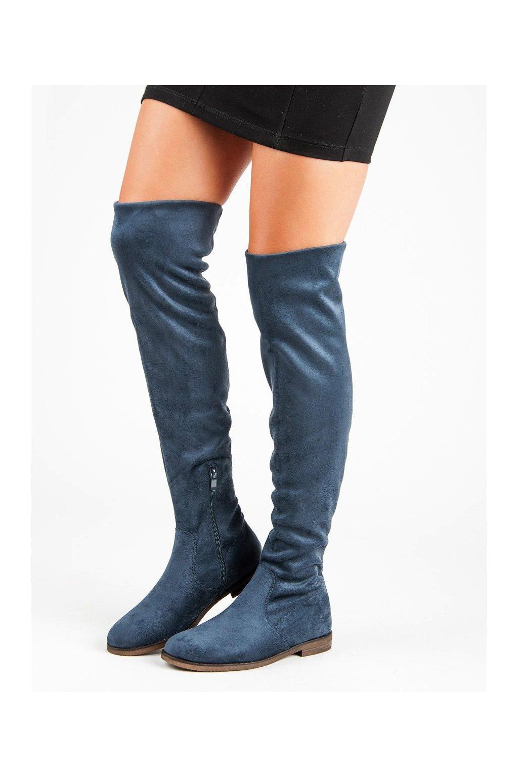 5b75a411f Modré semišové čižmy nad koleno mušketierky Super Me   NAJ.SK