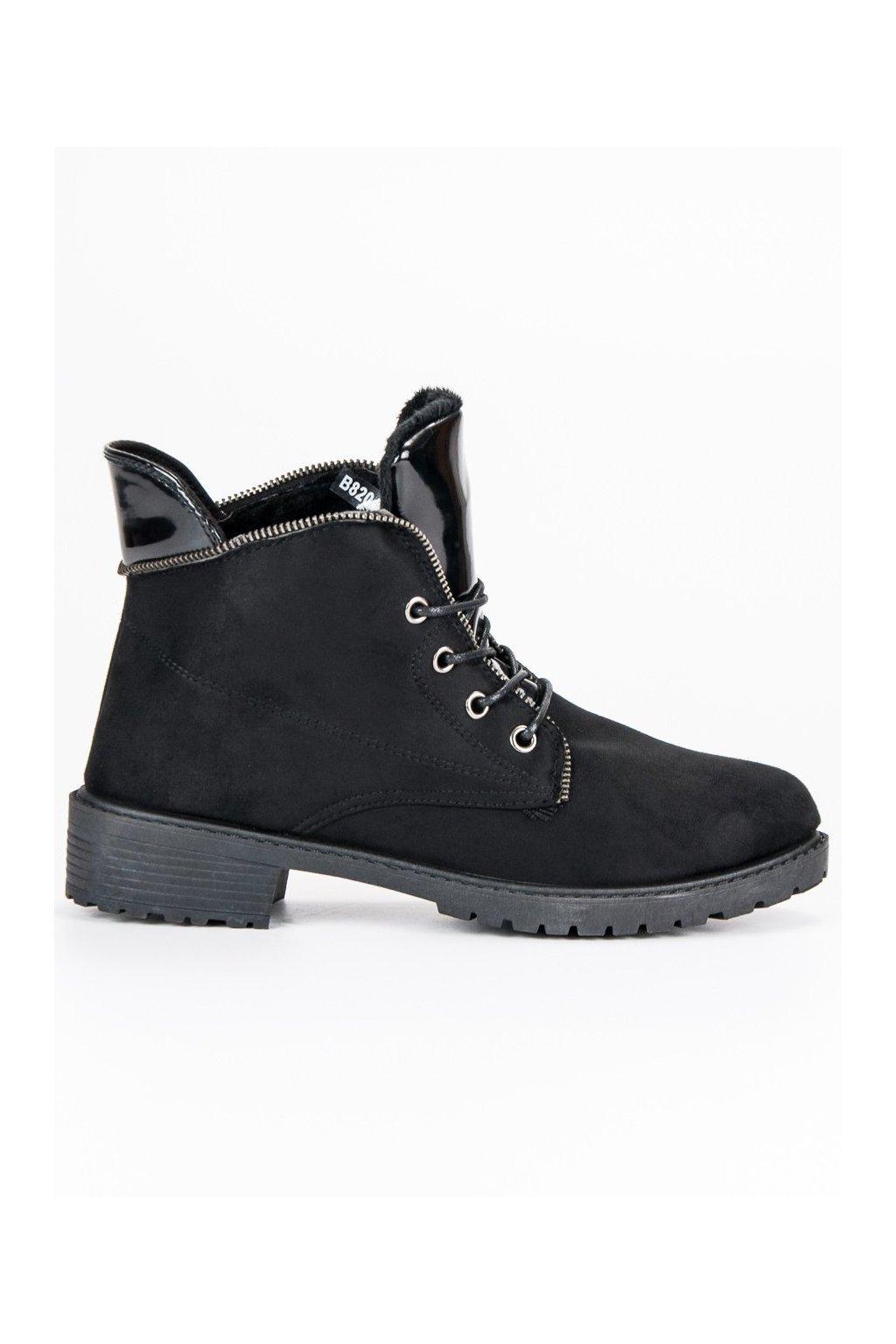 Čierne dámske topánky na plochom opätku Balada B820B