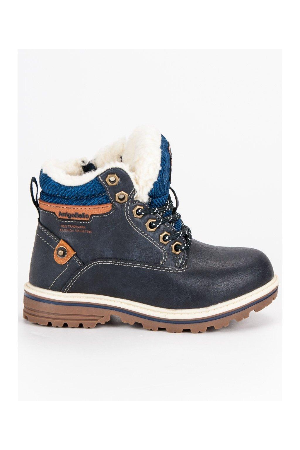 Chlapčenské zateplené topánky na zimu modré  c761a922b8a