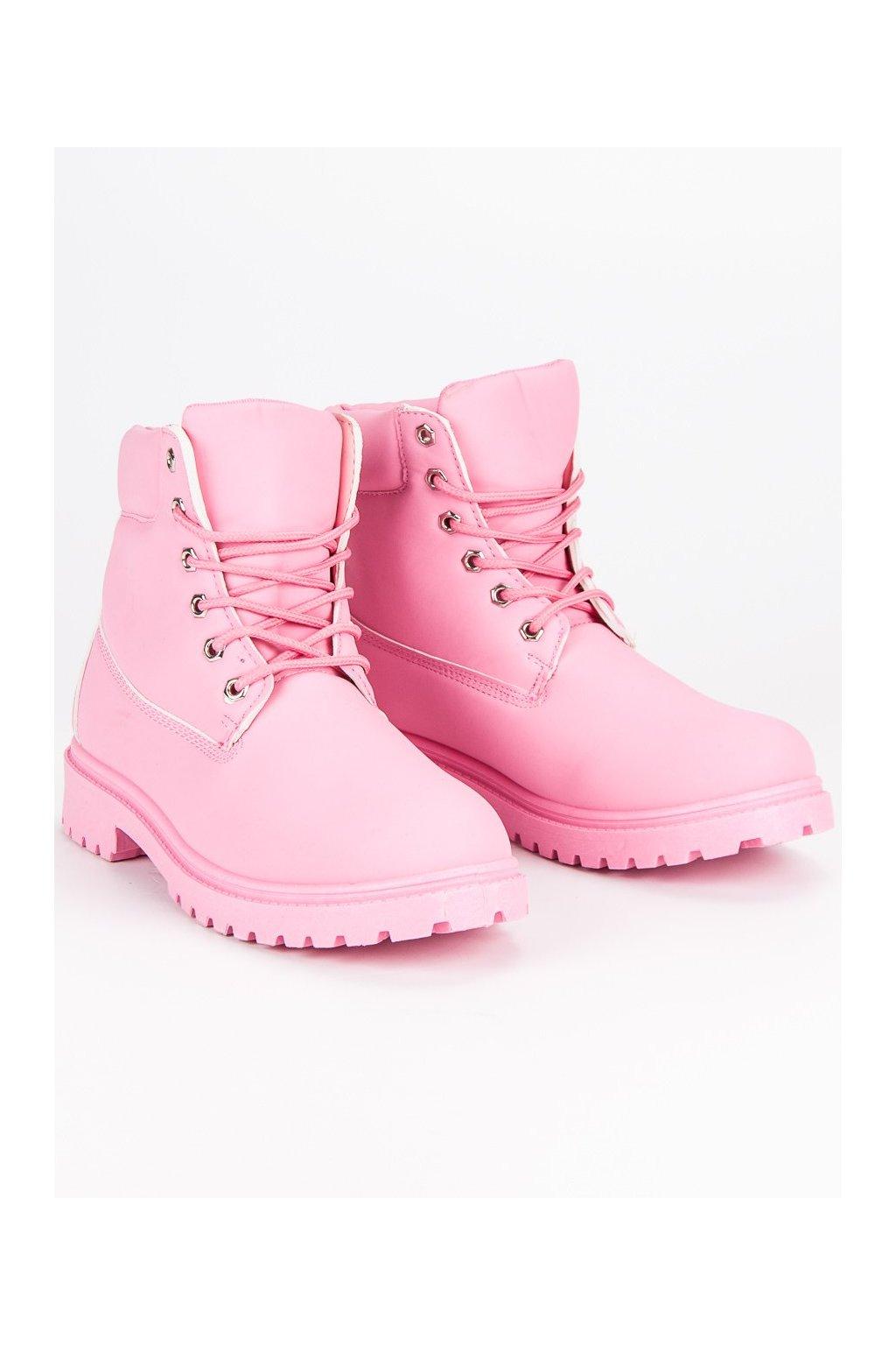Pastelové dámske topánky na zimu traperky ružové  7111f69b863